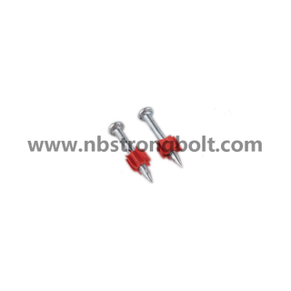 "High-Strength Shooting Nails with Red Washer with Zinc Plated Cr3+ 3.7X1.1/4"" (Cold Forge)/China shooting nail factory,China shooting nail manufacturer"