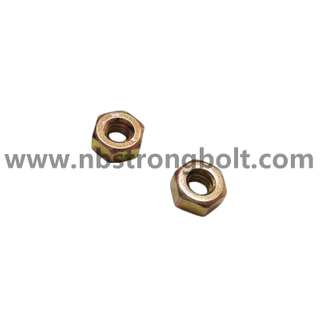 "ASME/ANSI B18.2.2 Hex Nut with Yellow Zinc Gr.8 1/4""-20/China nut factory,China hex flange nut manufacturer"