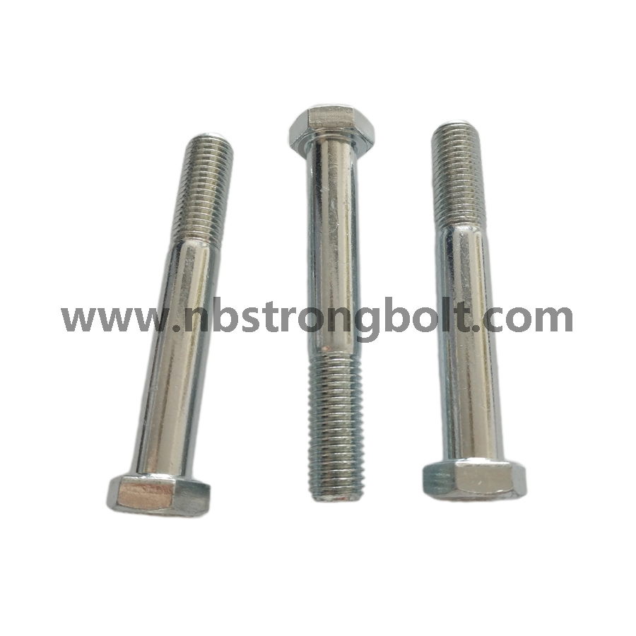DIN931 Hex Bolt Cl. 8.8 with White Zinc Plated/China hex Bolt manufacturer,China bolts factory,China hex bolts factory