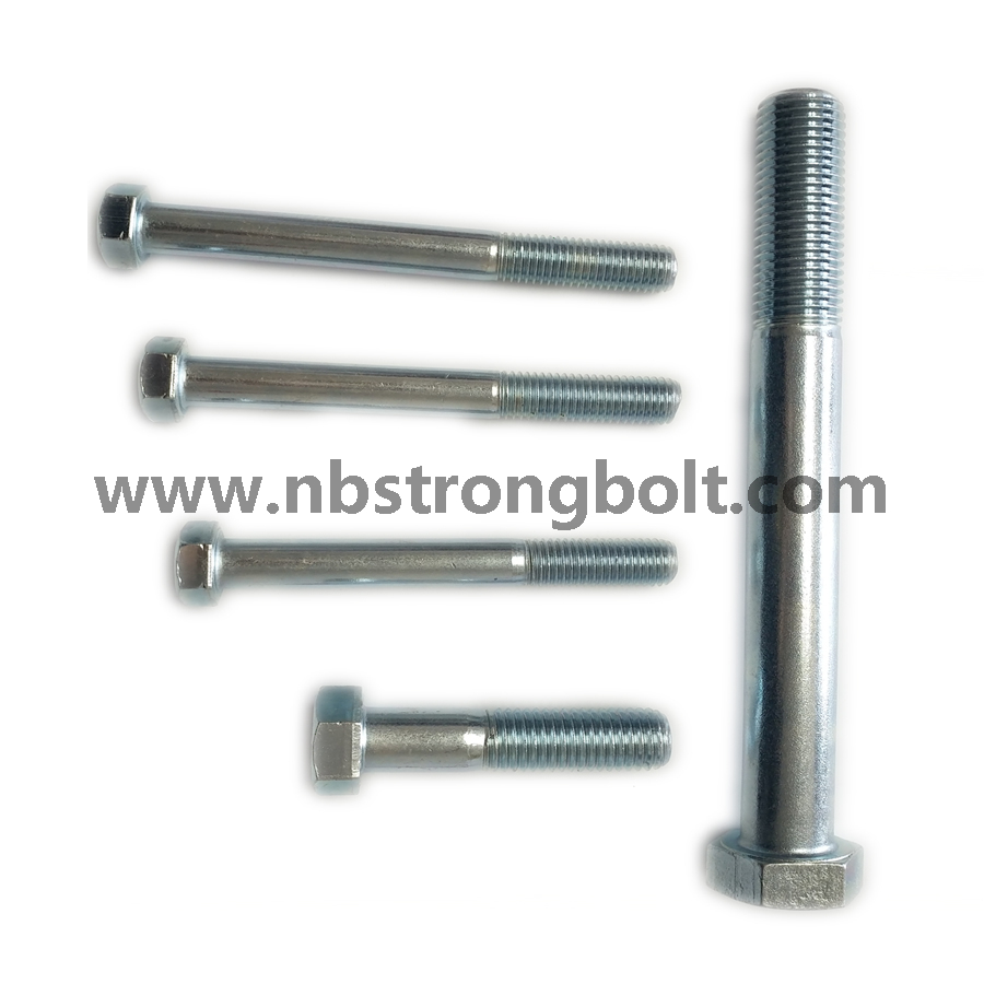 DIN931 Hex Bolt, Cl. 8.8 with White Zinc Plated Cr3+/China hex Bolt manufacturer,China bolts factory,China hex bolts factory